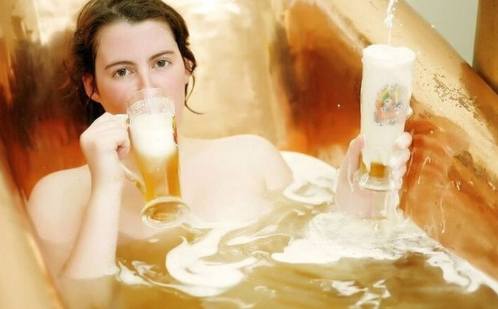 Dưỡng da toàn thân với bia